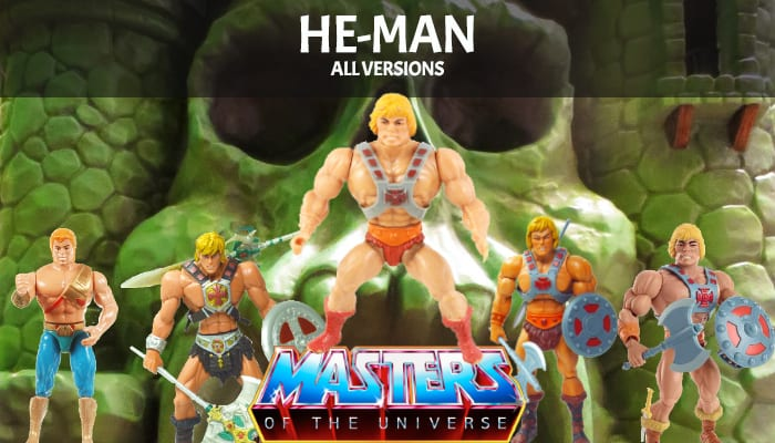 He-Man action figure versions from the Masters of the Universe toy lines
