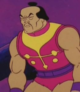 """When his figure was released he was promoted as the """"Evil Master of Martial Arts"""" and was widely seen as a rival to the heroic character Fisto, released in the same wave, based upon the similarity of their designs; both had spring-loaded right arms. However, although the mini-comic """"The Clash of Arms"""", packaged with both their figures, hints loosely at some kind of rivalry between them, no media ever produces any official backstory between the two characters. Many comics and storybooks ignore the idea of any connection between them altogether, leaving fans to only guess at what the connection between the two characters may be.  Aside from a couple of figures released later in the toyline, Jitsu is one of the least-featured characters of the entire franchise. Even most storybooks and comics give the character only minor roles at most, such as in his two other minicomic outings (Hordak: The Ruthless Leader's Revenge! and Mantenna and the Menace of the Evil Horde!) and he is never given an official origin or any real character development. It is possible that this character's underexposure may relate to the fears of racial stereotyping that led him to be mostly excluded from the cartoon."""