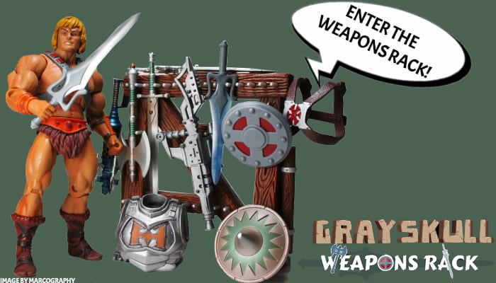 Grayskull Weapons Rack Masters of the Universe action figure, weapons, accessories, customs database