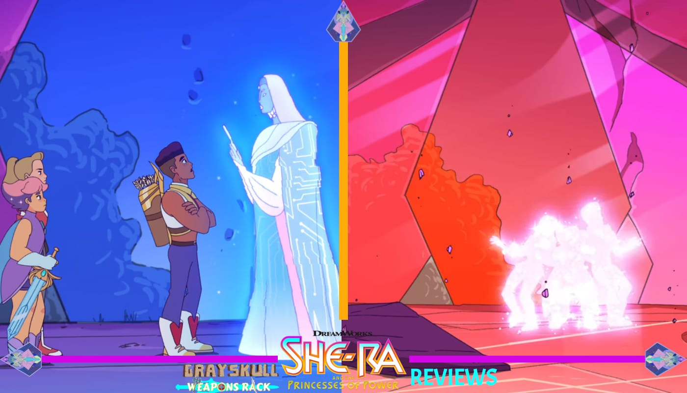 Adora Bow and Glimmer activate a hologram but escape the ruin before they are crushed