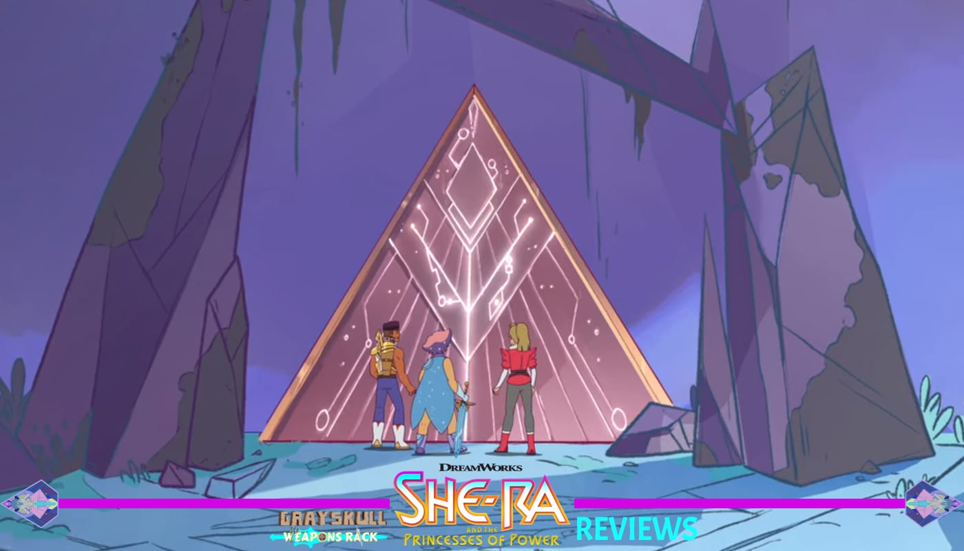 Adora Bow and Glimmer arrive at the First Ones Ruin