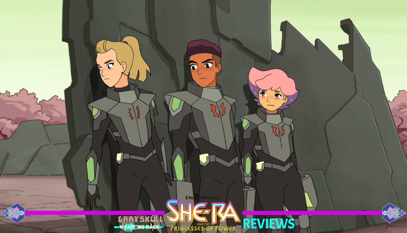 Adora Bow and Glimmer disguise themselves as Horde Soldiers