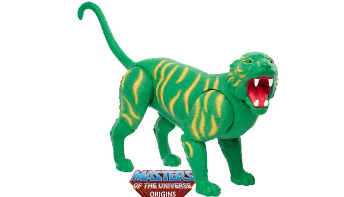 Battle Cat creature from the Masters of the Universe Origins toy line. Find other figures, weapons, vehicles, and accessories using the Weapons Rack.