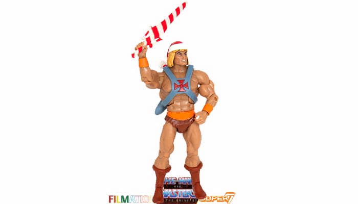 Holiday Edition He-Man action figure from the Filmation Super7 Masters of the Universe toy line.