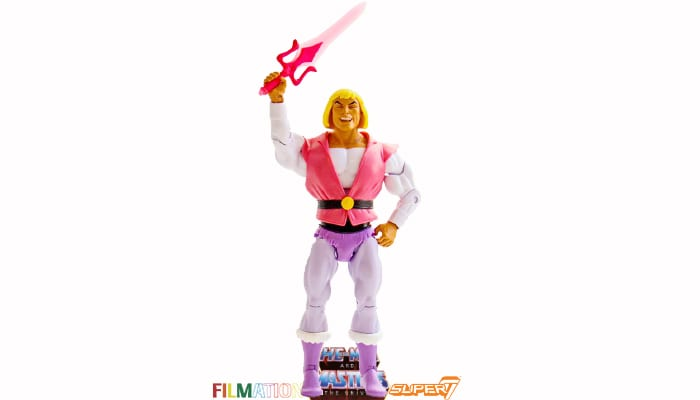 Laughing Prince Adam action figure from the Filmation Super7 Masters of the Universe toy line.