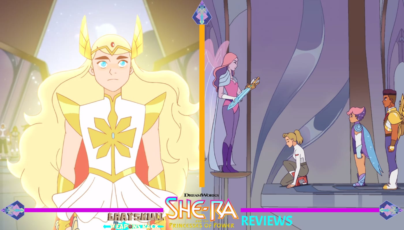She-Ra meets queen Angela, transforming herself back to Adora to pledge her allegiance to the Rebellion