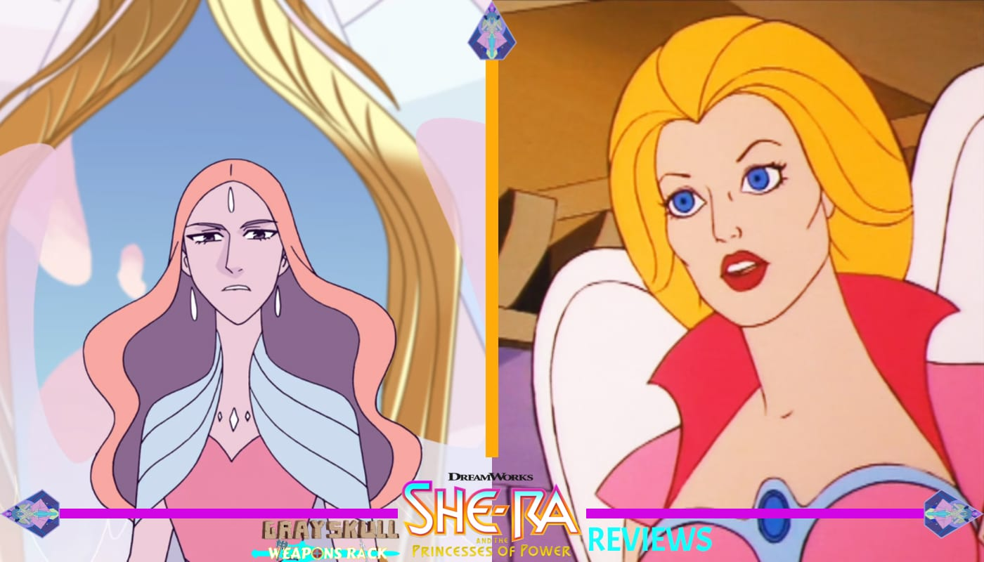 Queen Angella as she appears in the Dreamworks Netflix series vs. 1980's Filmation cartoon