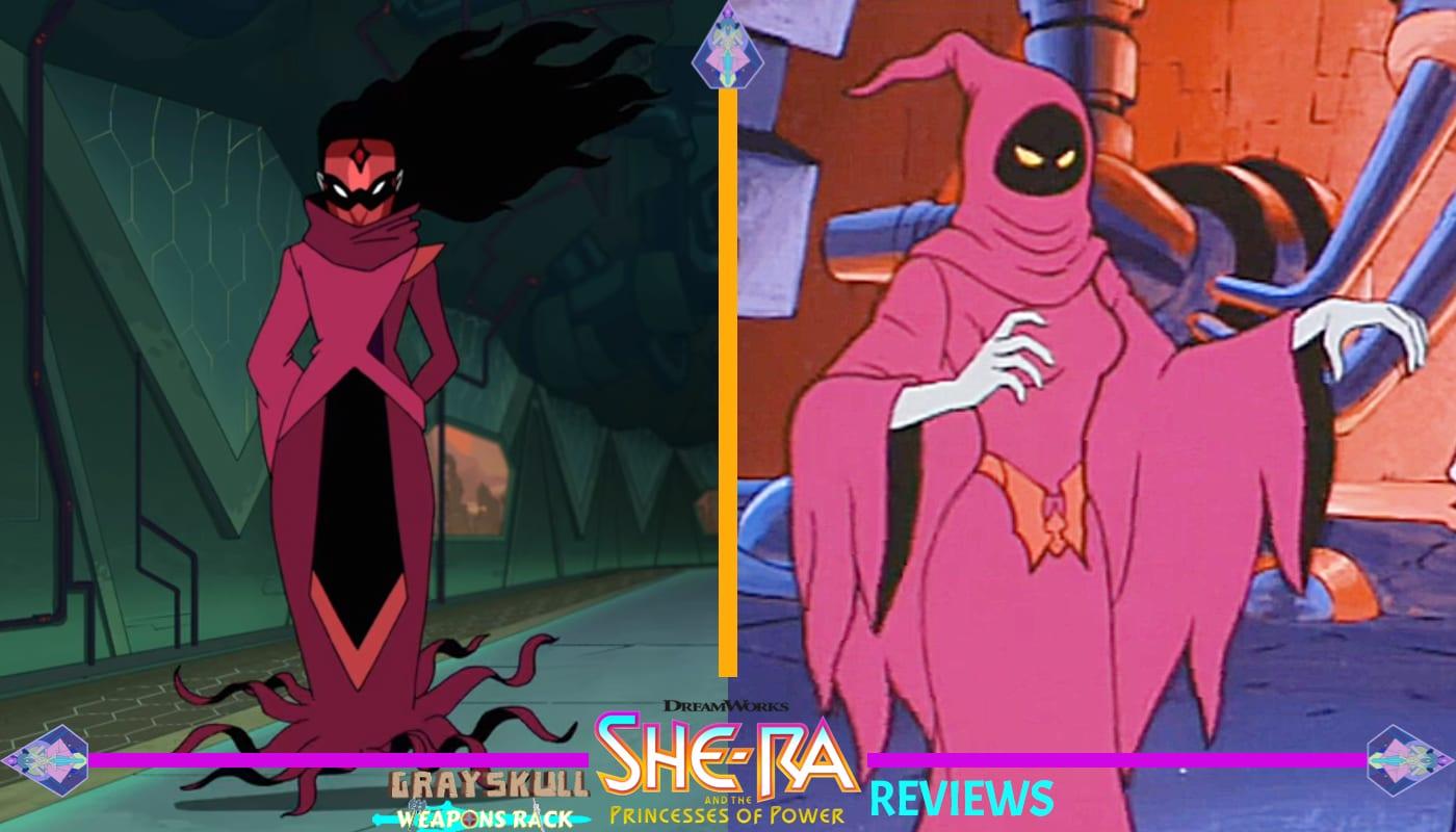 Shadow Weaver as she appears in the Dreamworks Netflix series vs. 1980's Filmation cartoon