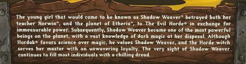 Shadow Weaver Filmation Club Grayskull Bio