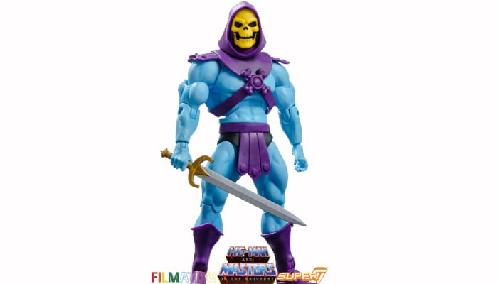 Skeletor action figure from the Filmation Super7 Masters of the Universe toy line.
