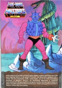 Spikor's box back from the Filmation Super7 Masters of the Universe toy line