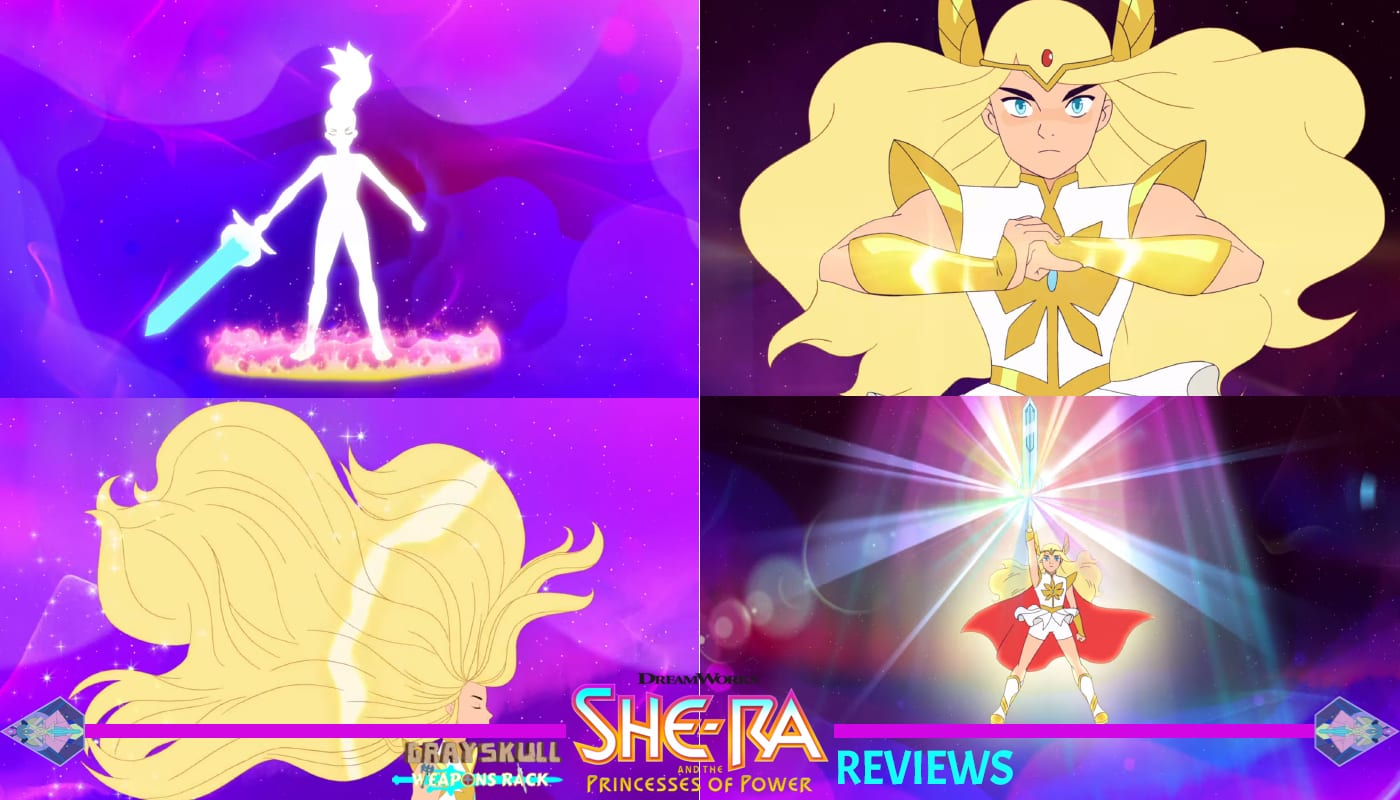 Adora transforming into She-Ra